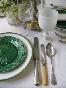 lose up of table setting