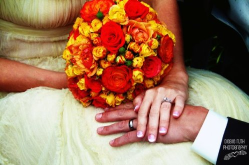 bouquet with rings