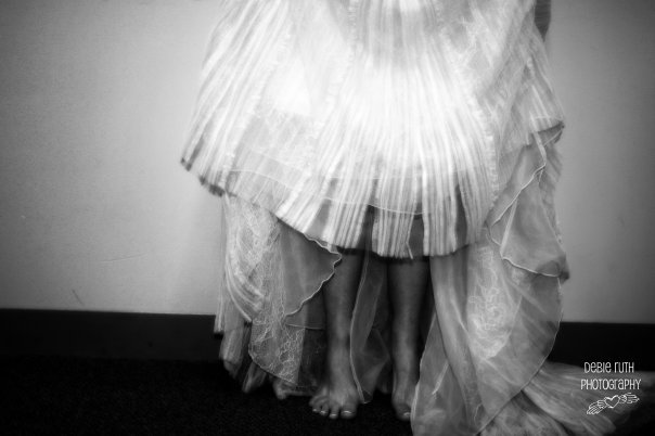 bride with bare feet