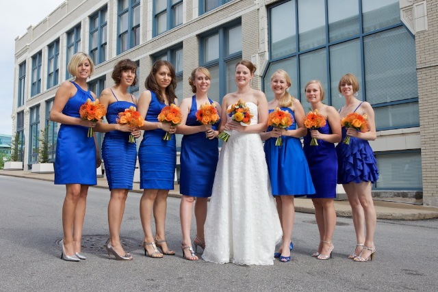 High end red ball gown haltered ruched appliques decorated cathedral train colored wedding blue dress