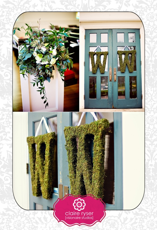 To achieve that at the church we made moss covered letters for the front doors and flowy pew decor for the isles as well as a large altar piece up front to ... & Hitched Planning + Floral \u2013 Liz + Spence