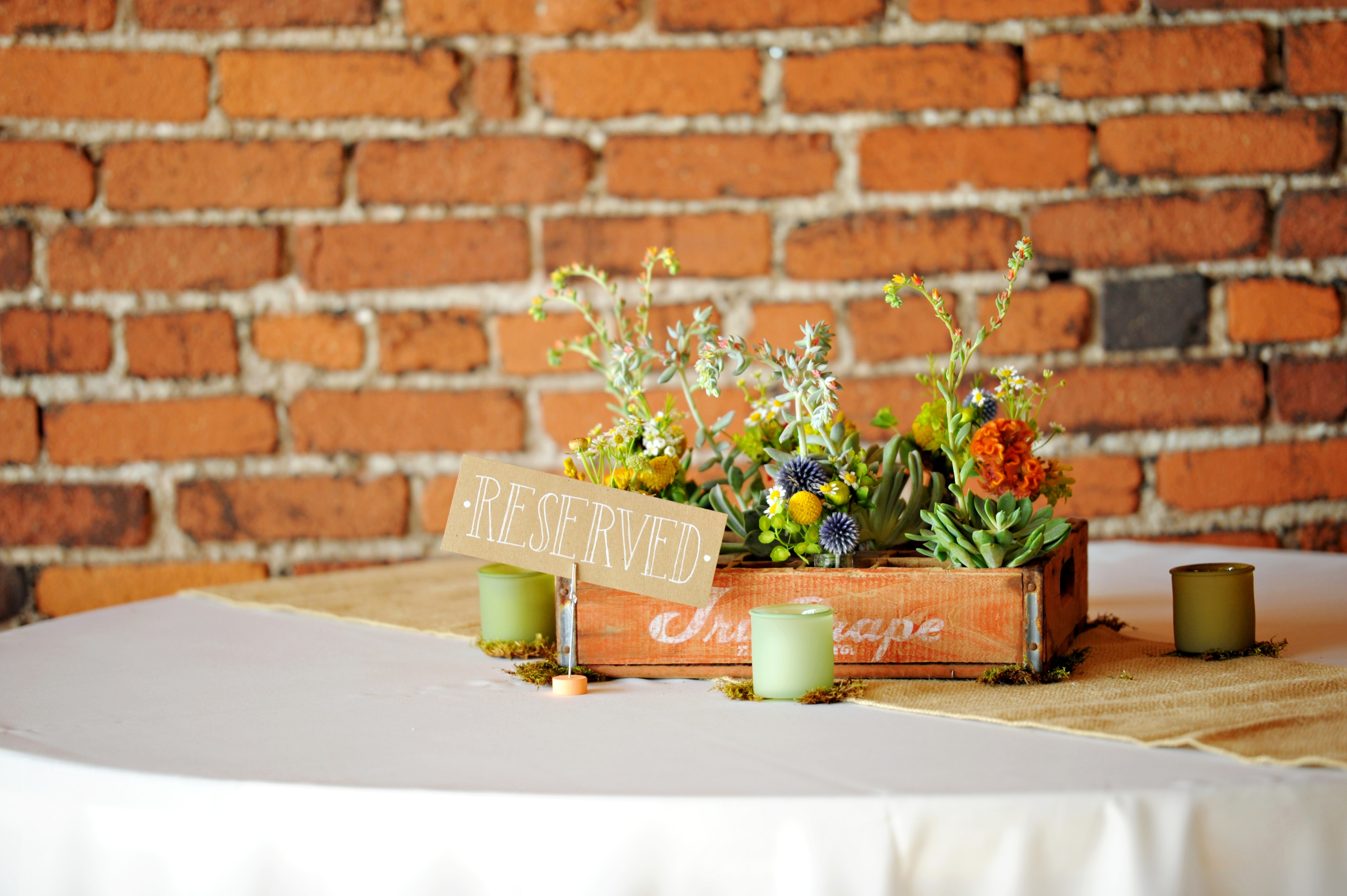 Wooden box centerpieces hitched planning floral