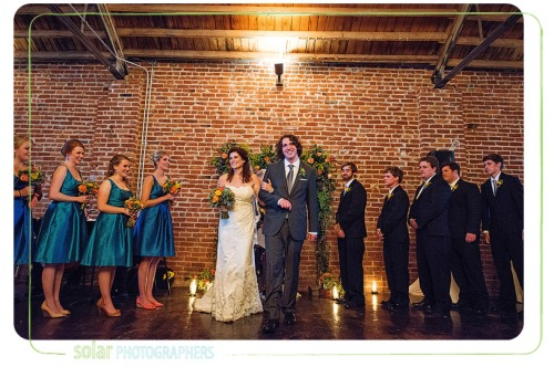 fall loft wedding couple