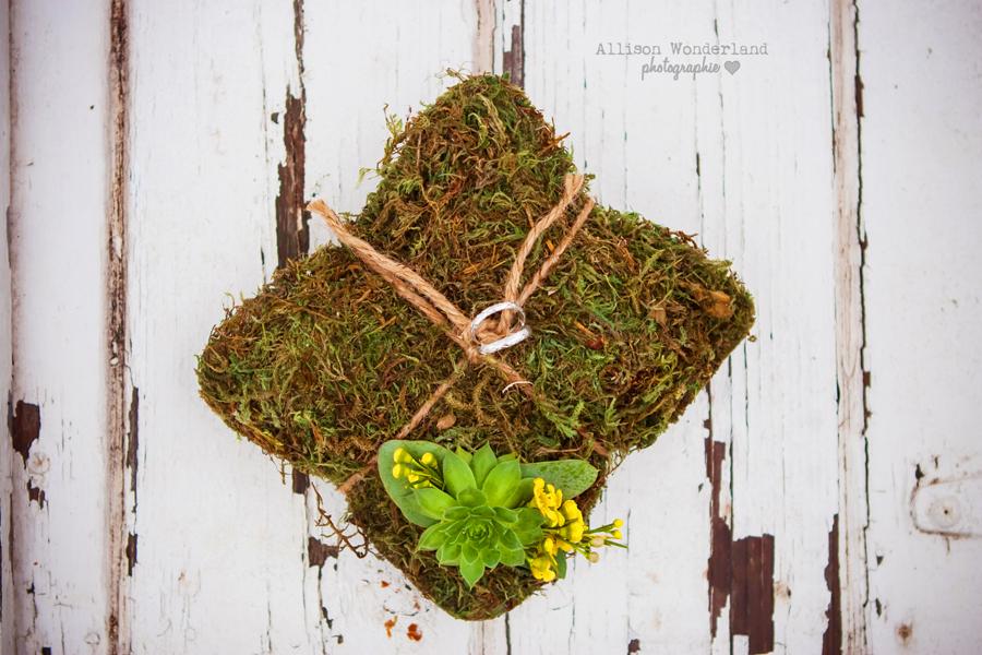 Moss Wedding Ring Pillow