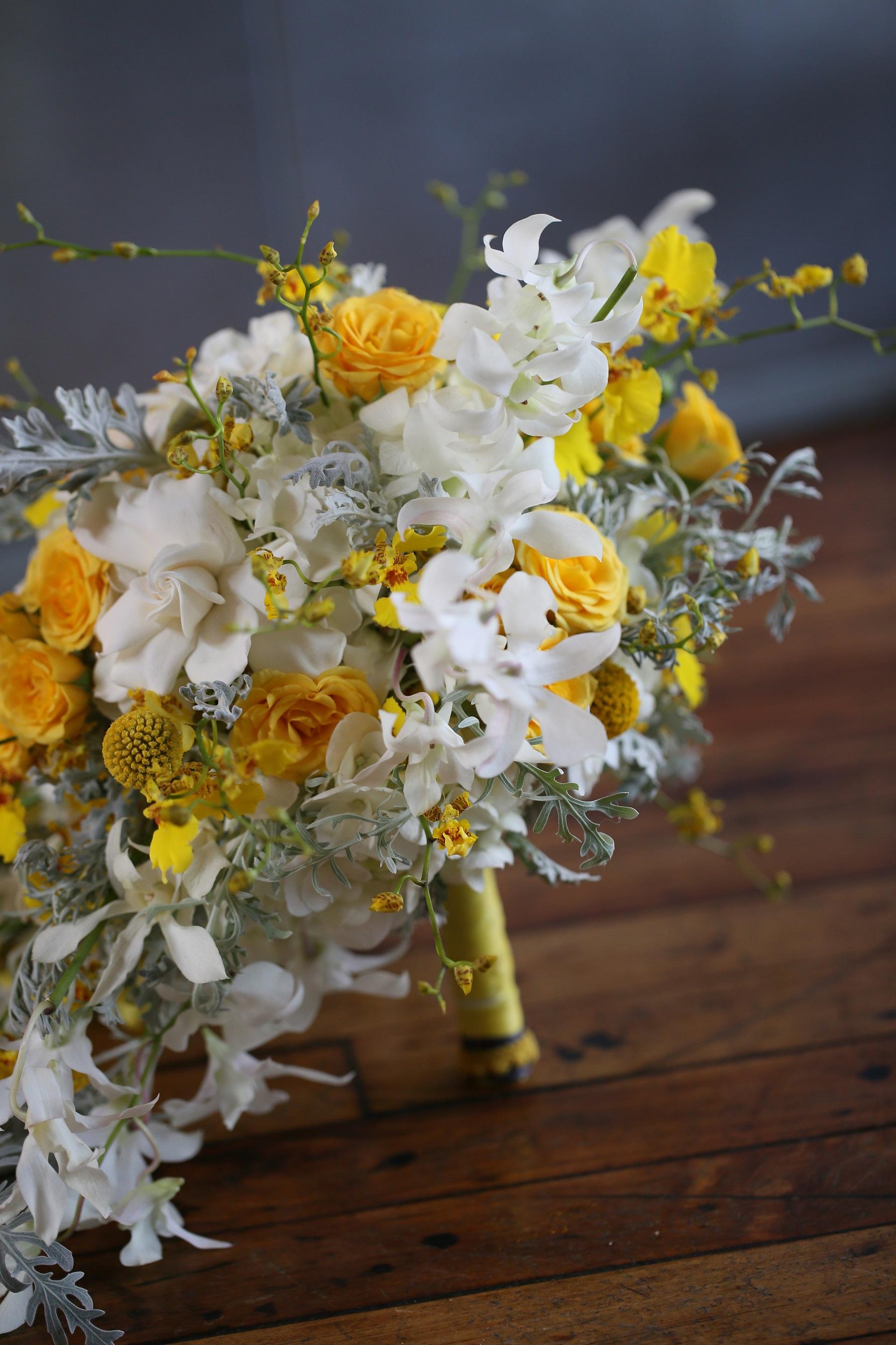 yellow, grey cascading bouquet