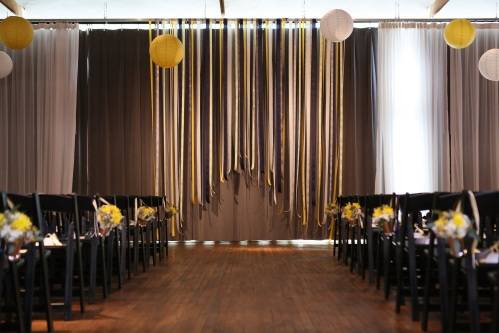yellow, navy ribbon backdrop