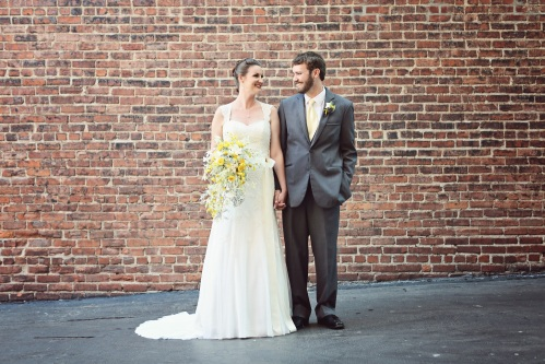 yellow and grey bride and groom