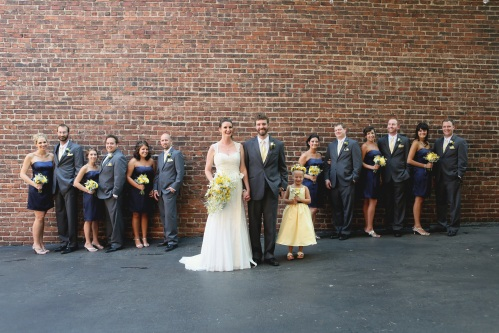 yellow, grey, navy bridal party