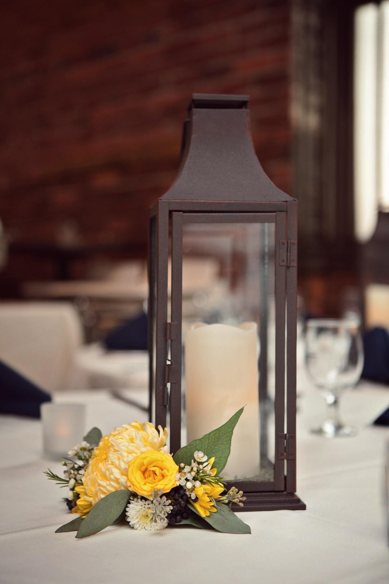 yellow lantern centerpiece