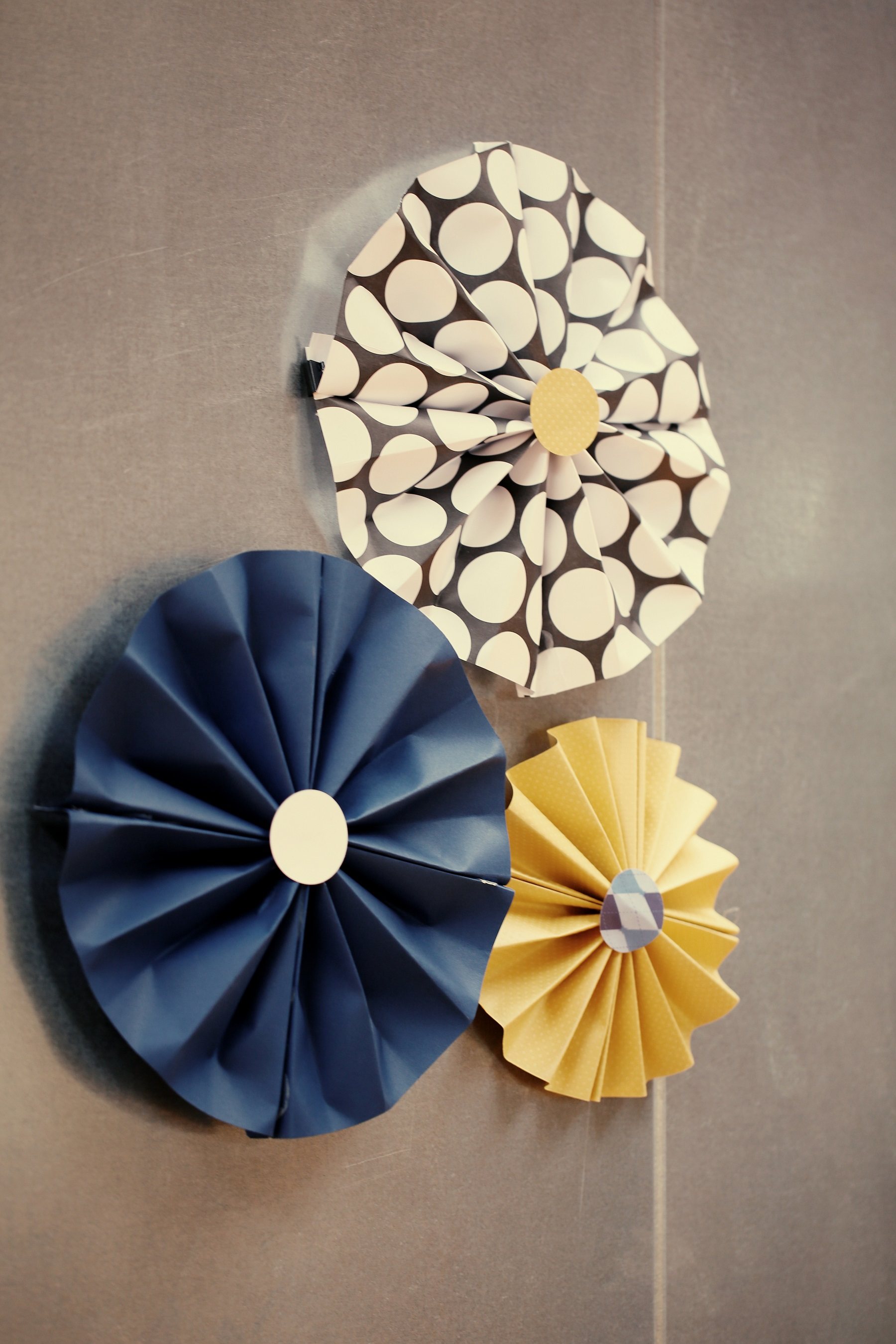 yellow and navy paper pinwheels