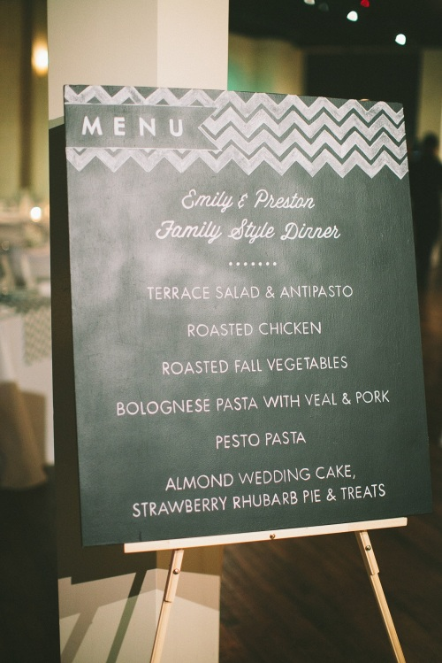 custom chalkboard wedding menu