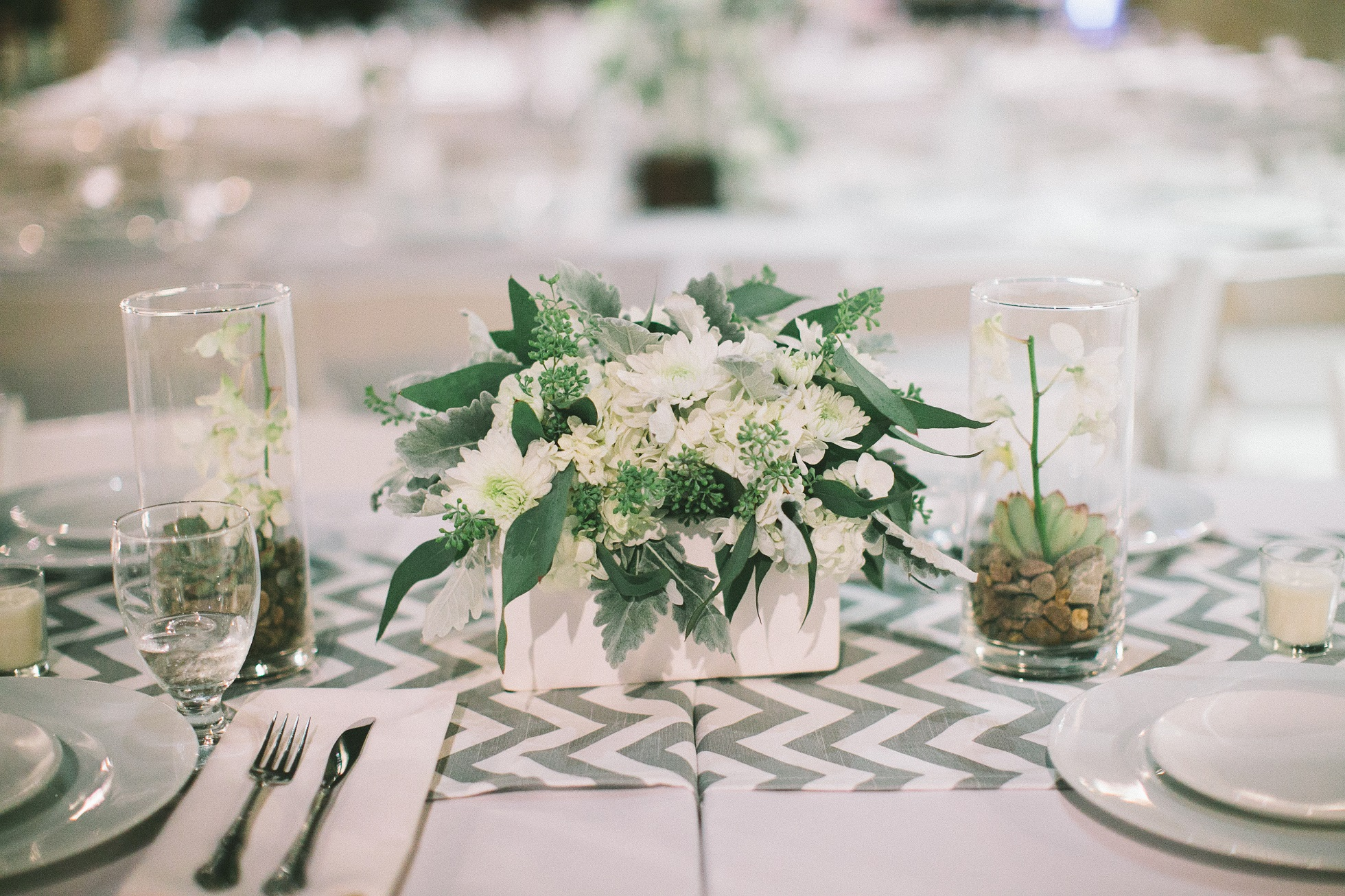 seeded eucalyptus centerpiece