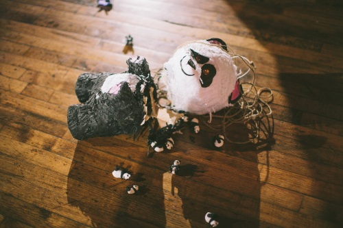 wedding panda pinata down