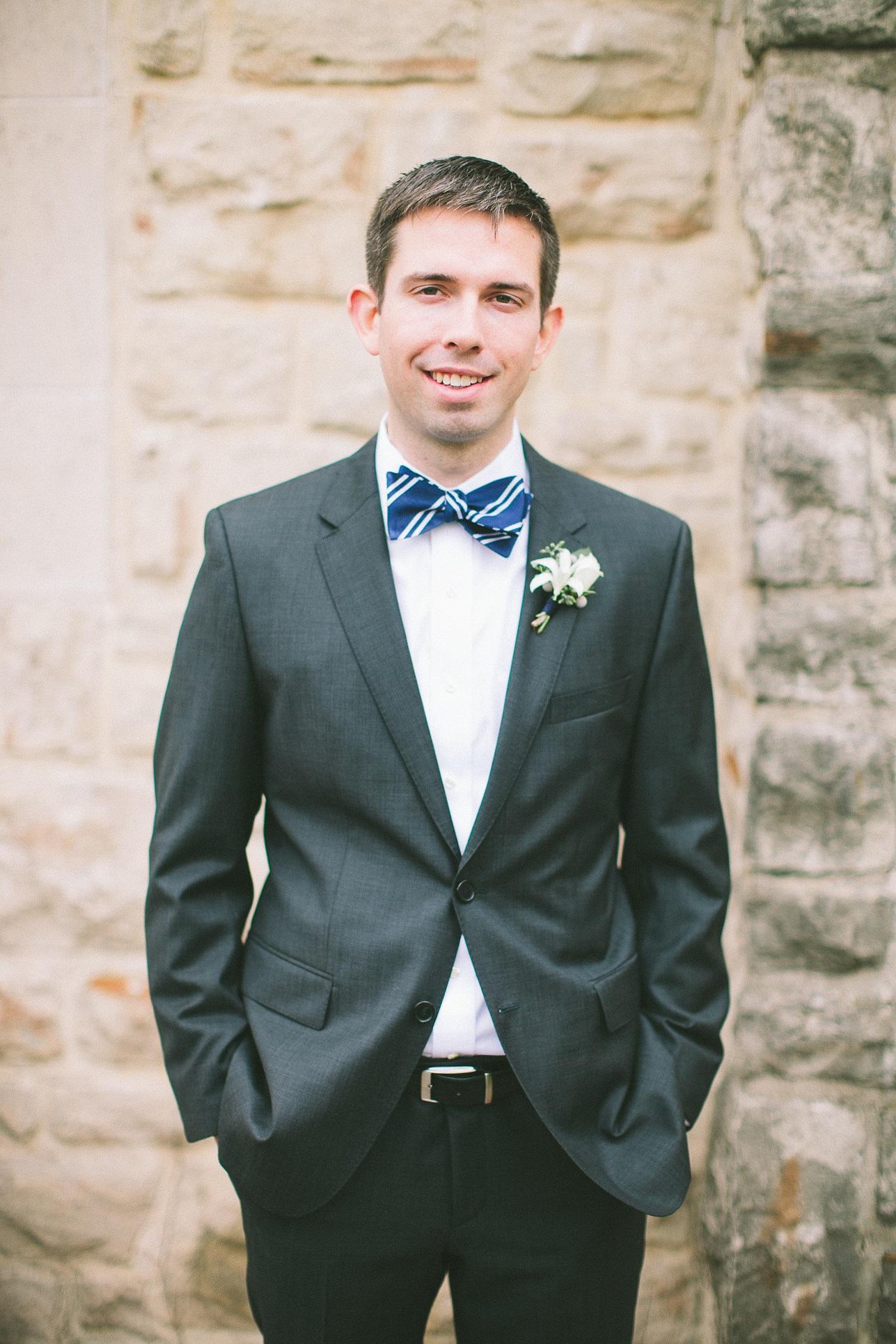 striped bow tie groom