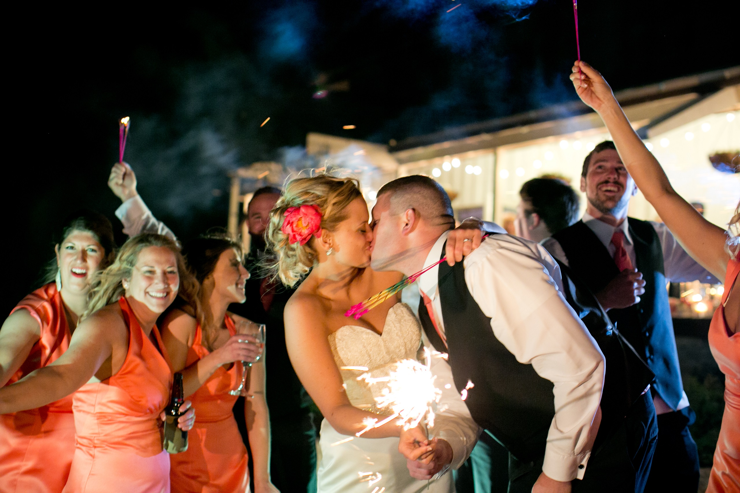 sparkler wedding couple