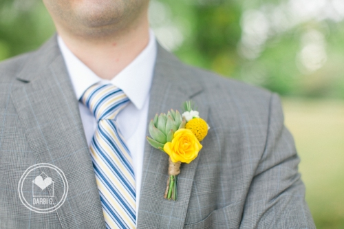 succulent yellow boutonniere