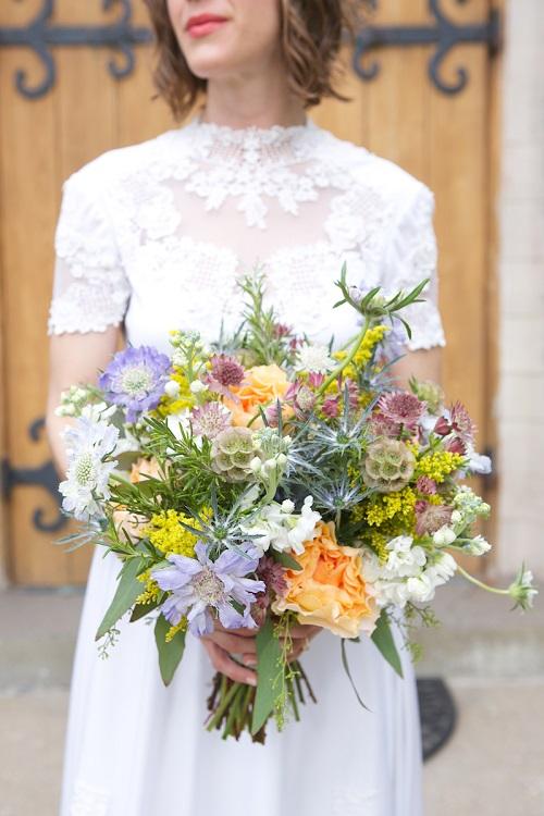 colorful flowy bridal bouquet