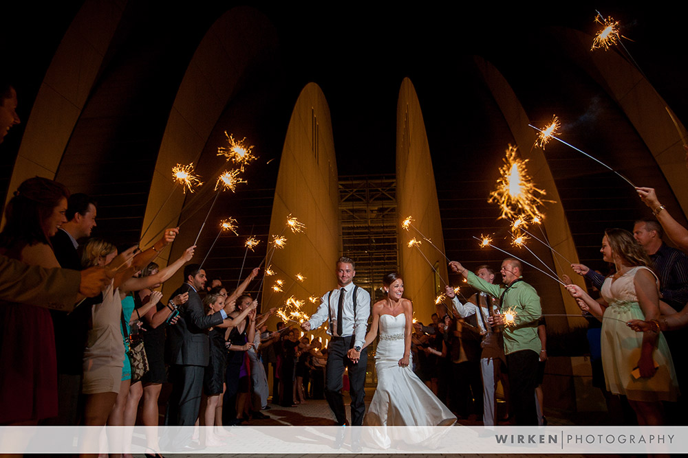 Kauffman wedding sparkler exit