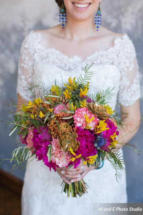 Colorful fustian bridal bouquet