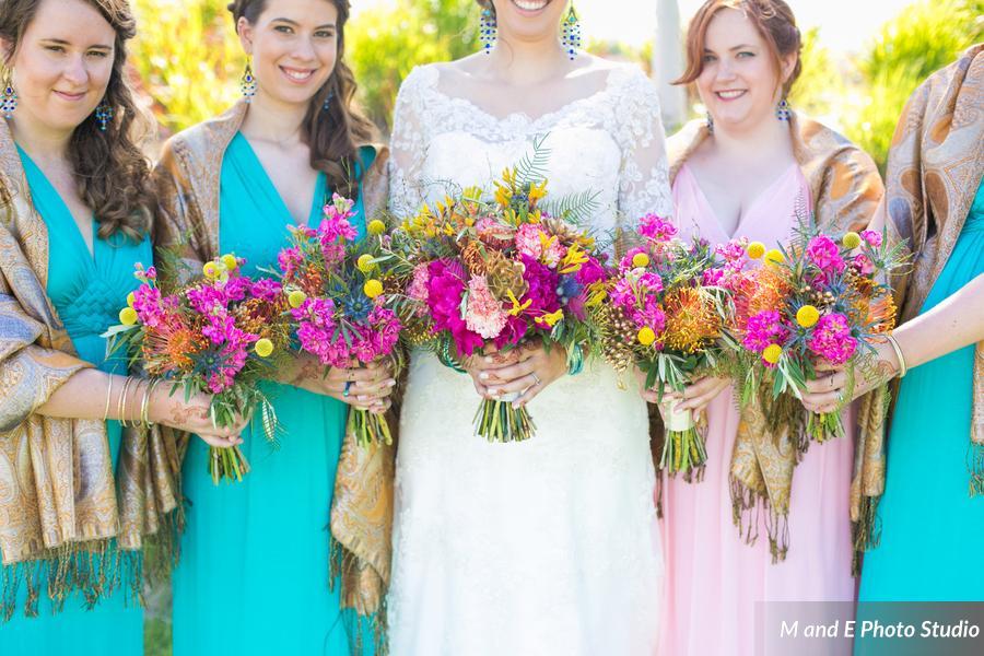 Bright fuchsia bouquets