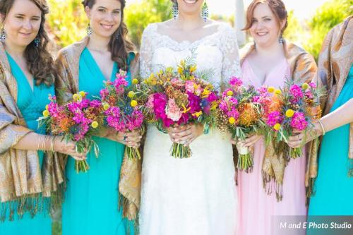 Bright fuchsia bouquets