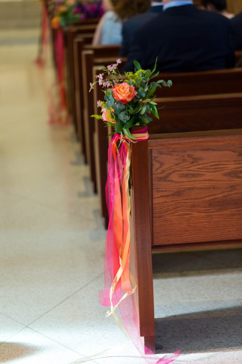 Orange and Pink Floral Aisle Decor