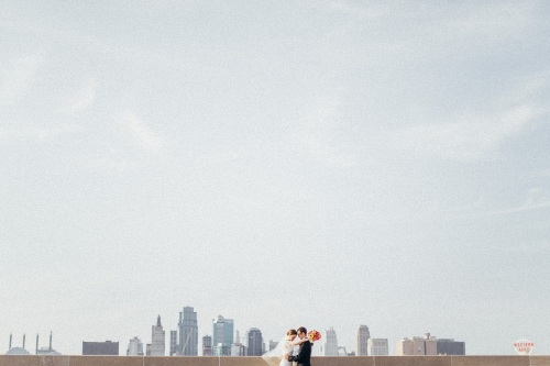 Kansas City Skyline Bride and Groom