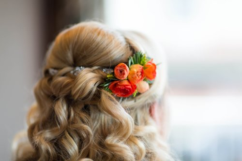 Orange Ranunculus Bridal Hair Piece