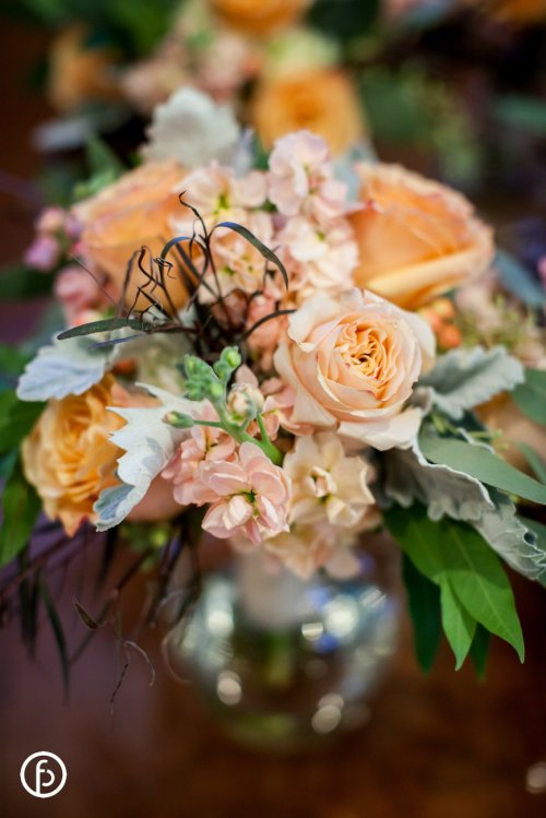 Roses, Stock and Dusty Miller Centerpiece