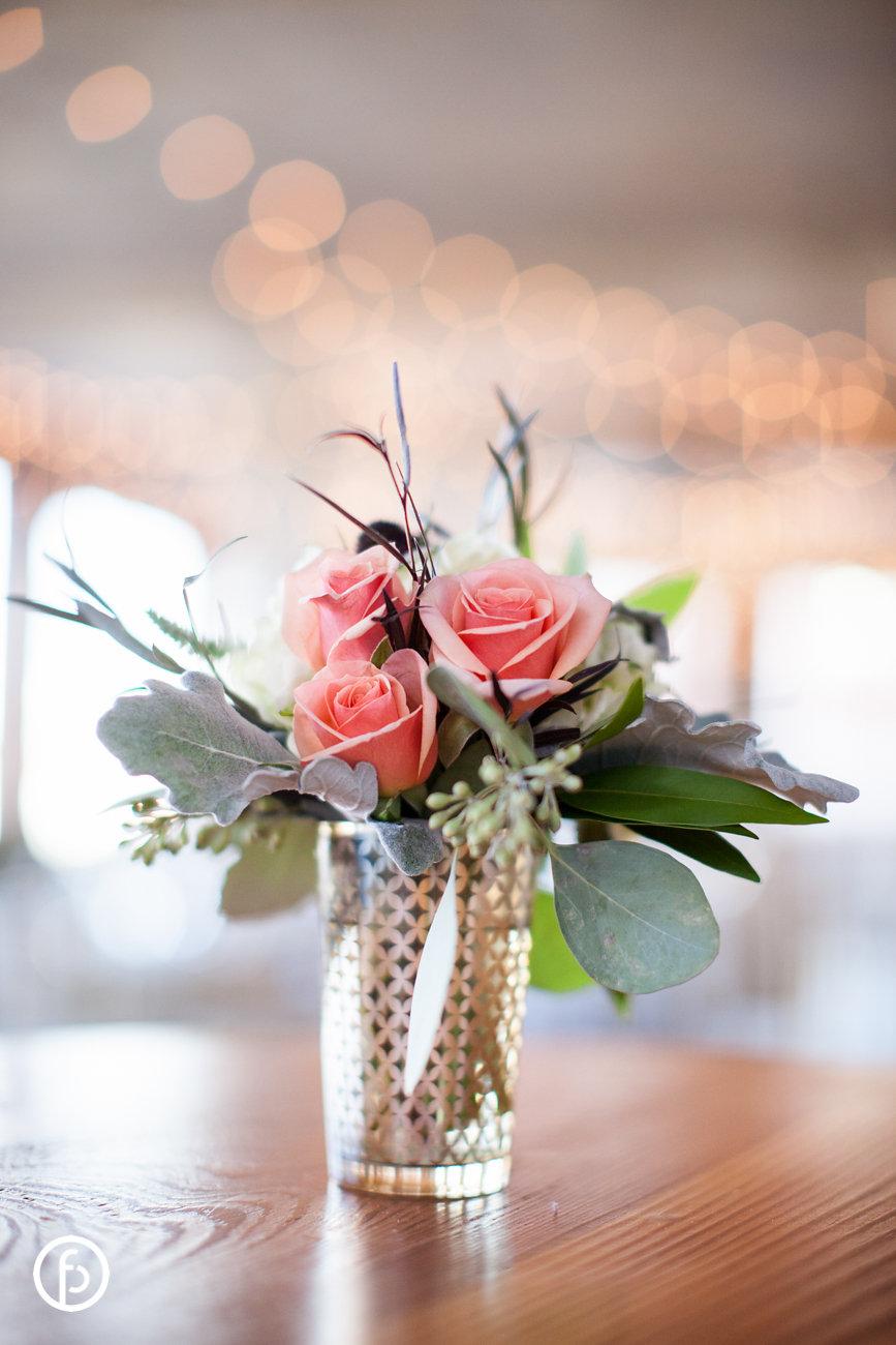 Pink Roses in Gold Lattice Vase