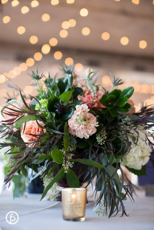 Stock, Pink Roses and Greenery Centerpiece