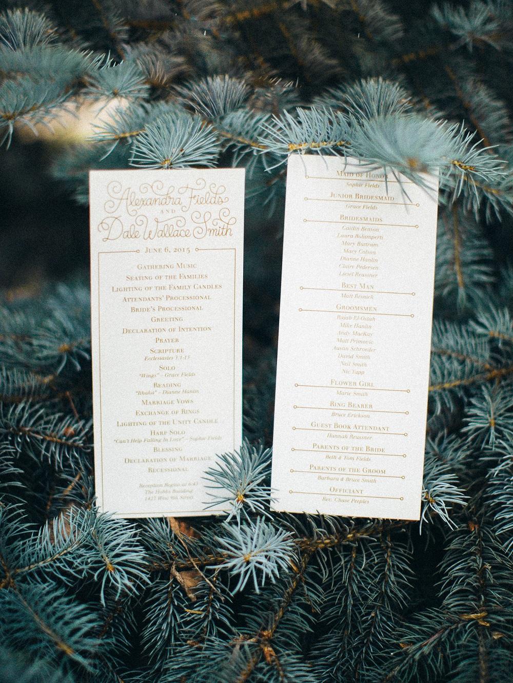 Country Club Congregational Wedding Programs