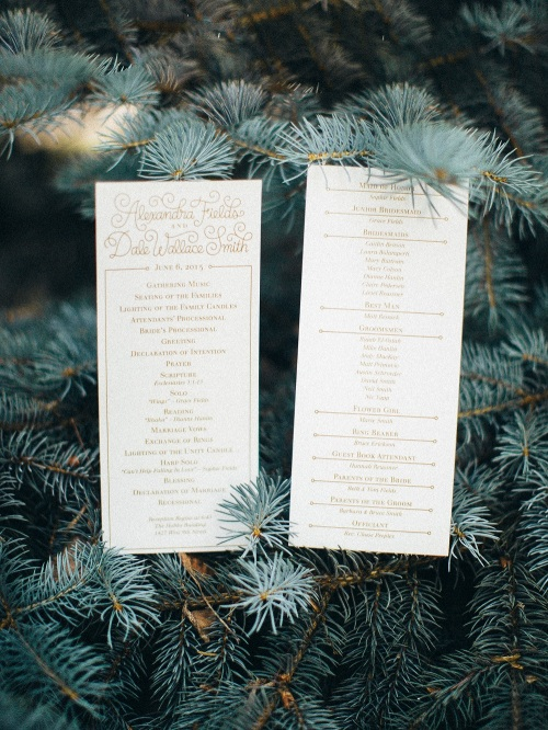 Country Club Congregational Wedding Programs