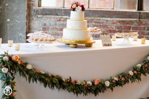 Wedding Cake with Flower Garland
