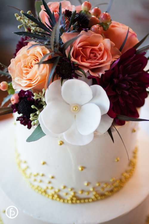 Burgundy Dahlias Wedding Cake Flowers