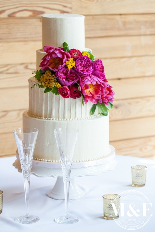 Pink Dahlias and Roses Wedding Cake