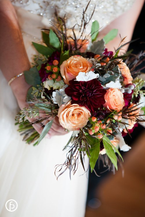 Burgundy Dahlias and Garden Roses Bouquet