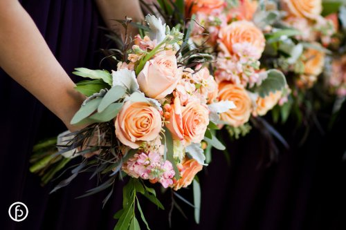 Rose, Stock and Dusty Miller Bridesmaids Bouquets