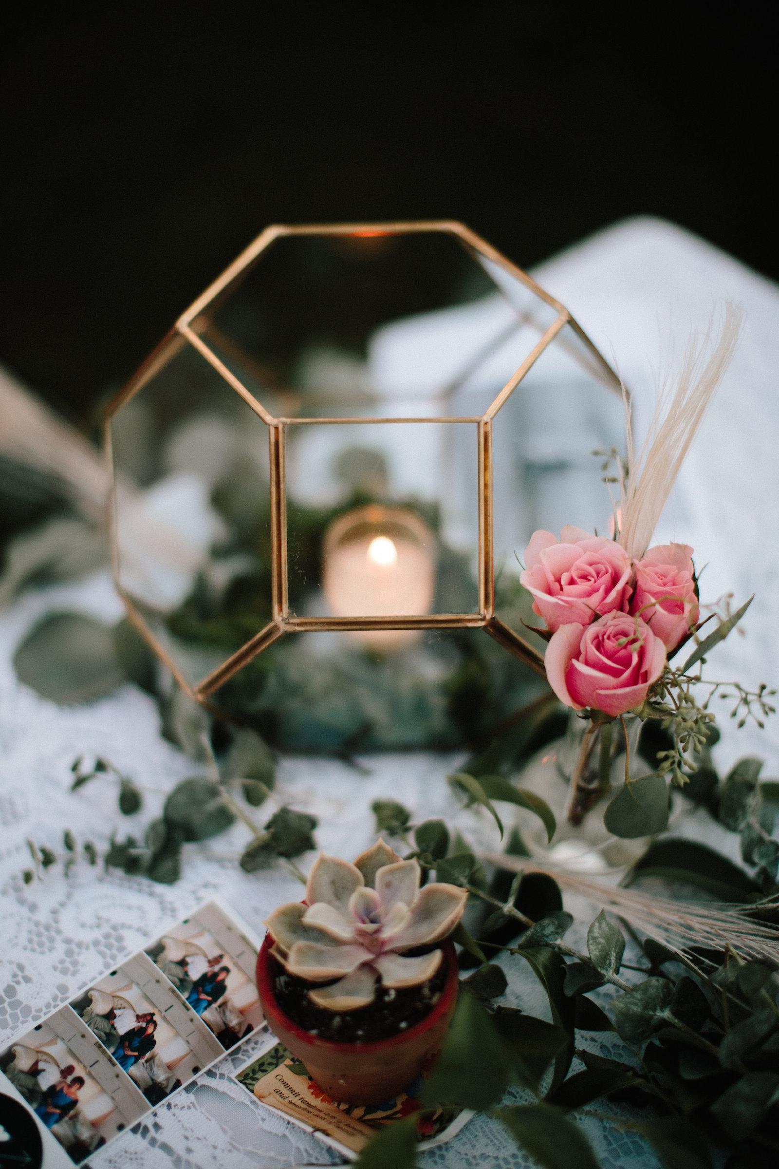 Geometric Wedding Centerpieces